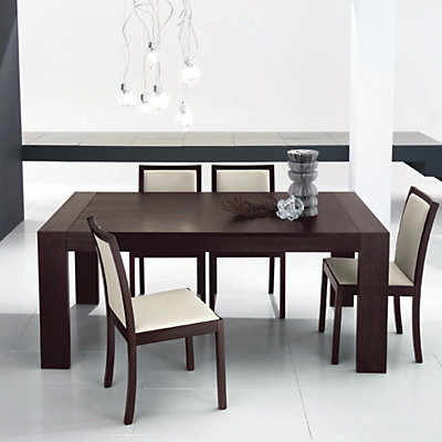 Table contemporaine carree avec allonge for Table de salle a manger contemporaine avec rallonge